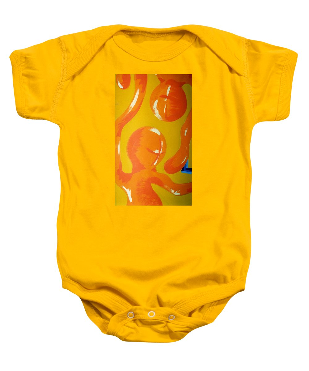 Baby Onesie featuring the painting Soul Figures 6 by Catt Kyriacou