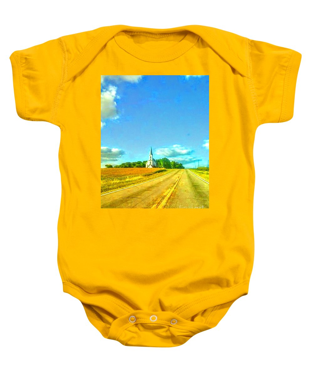 Church Baby Onesie featuring the photograph South Immanuel, On A Hill Far Away by Curtis Tilleraas