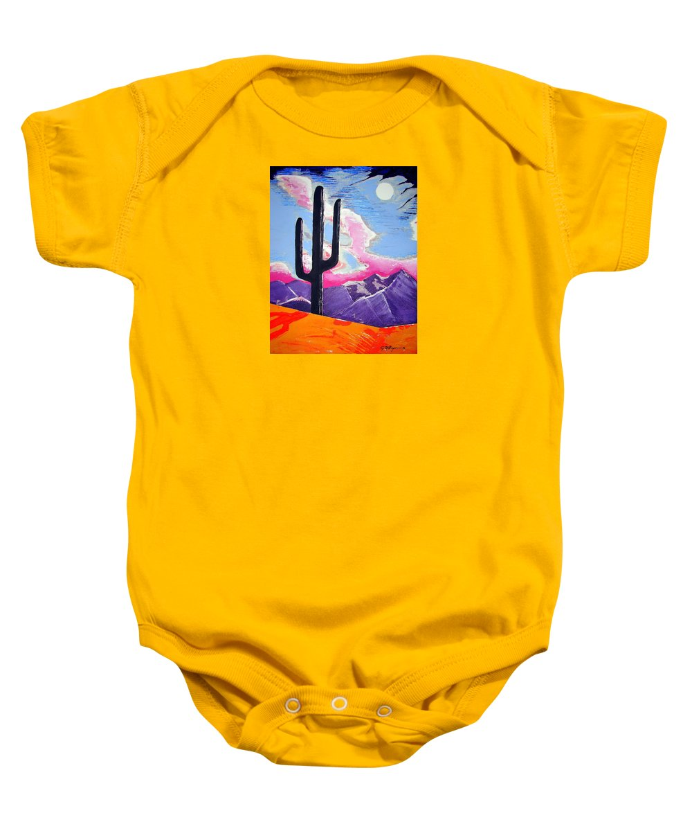 Cactus Baby Onesie featuring the painting Southwest Skies 2 by J R Seymour