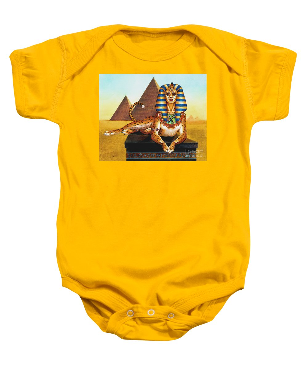 Cat Baby Onesie featuring the painting Sphinx On Plinth by Melissa A Benson