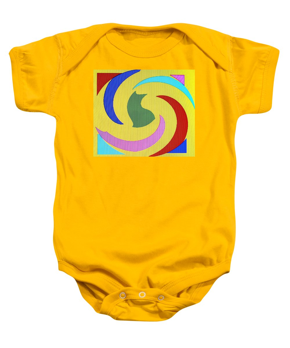 Abstract Baby Onesie featuring the digital art Spiral Three by Ian MacDonald