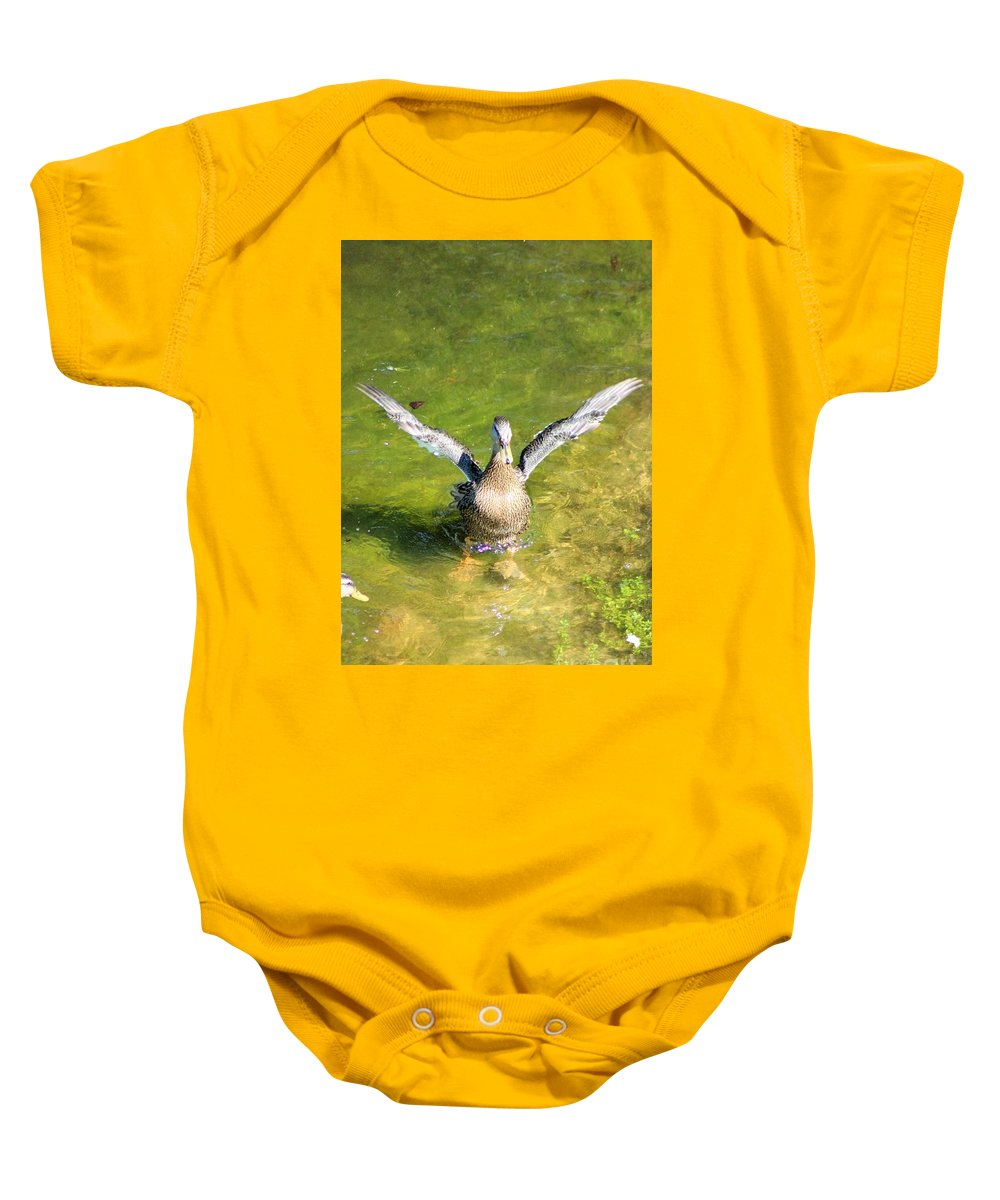 Duck Baby Onesie featuring the photograph Spread Your Wings by Mesa Teresita