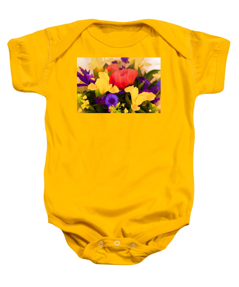 Flowers Baby Onesie featuring the digital art Spring Bouquet by Janet Fikar