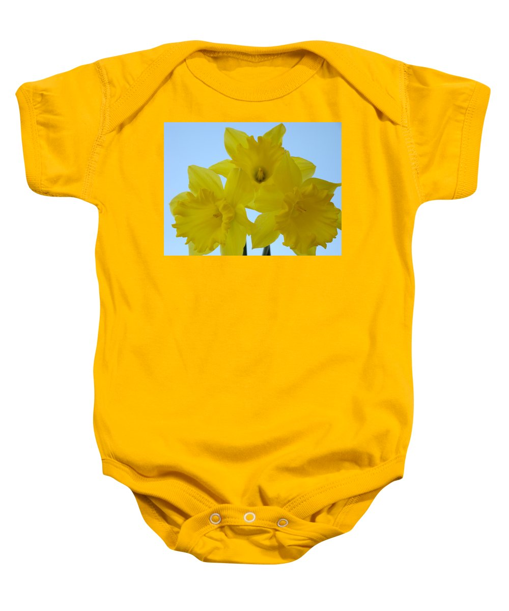�daffodils Artwork� Baby Onesie featuring the photograph Spring Daffodils 2 Flowers Art Prints Gifts Blue Sky by Baslee Troutman
