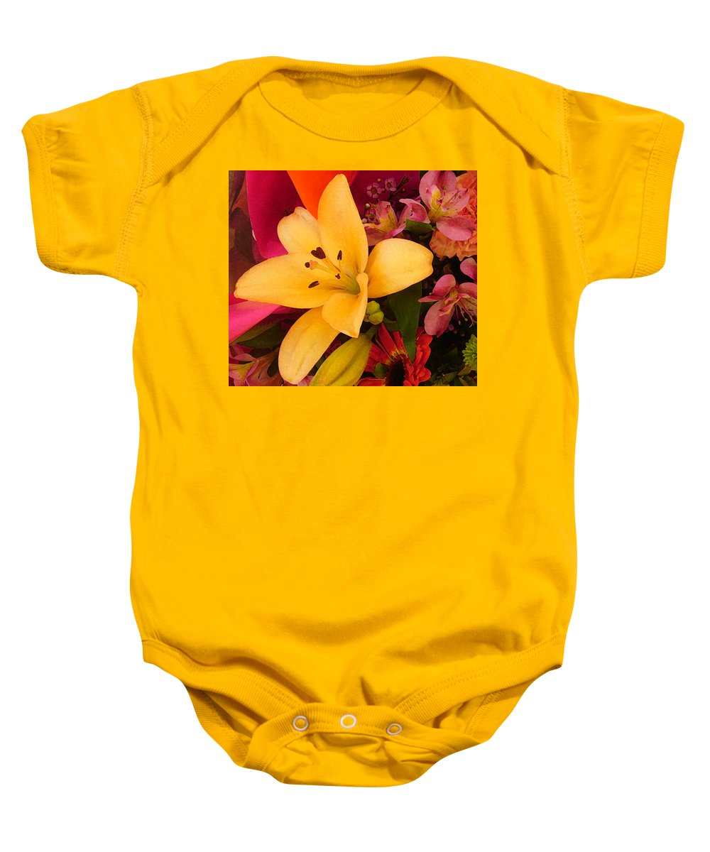 Lily Baby Onesie featuring the painting Spring Lily Bouquet by Amy Vangsgard