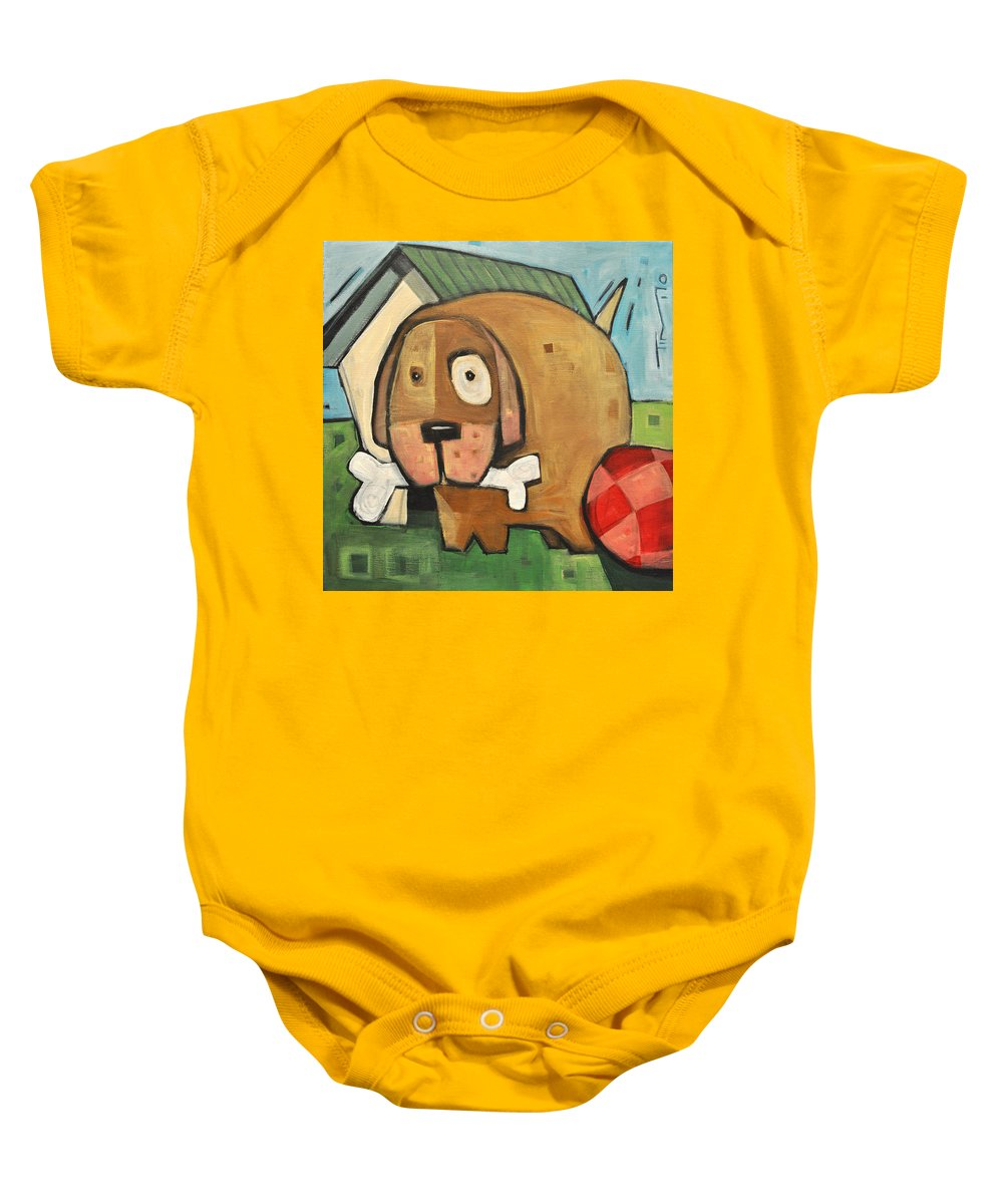 Dog Baby Onesie featuring the painting Square Dog by Tim Nyberg