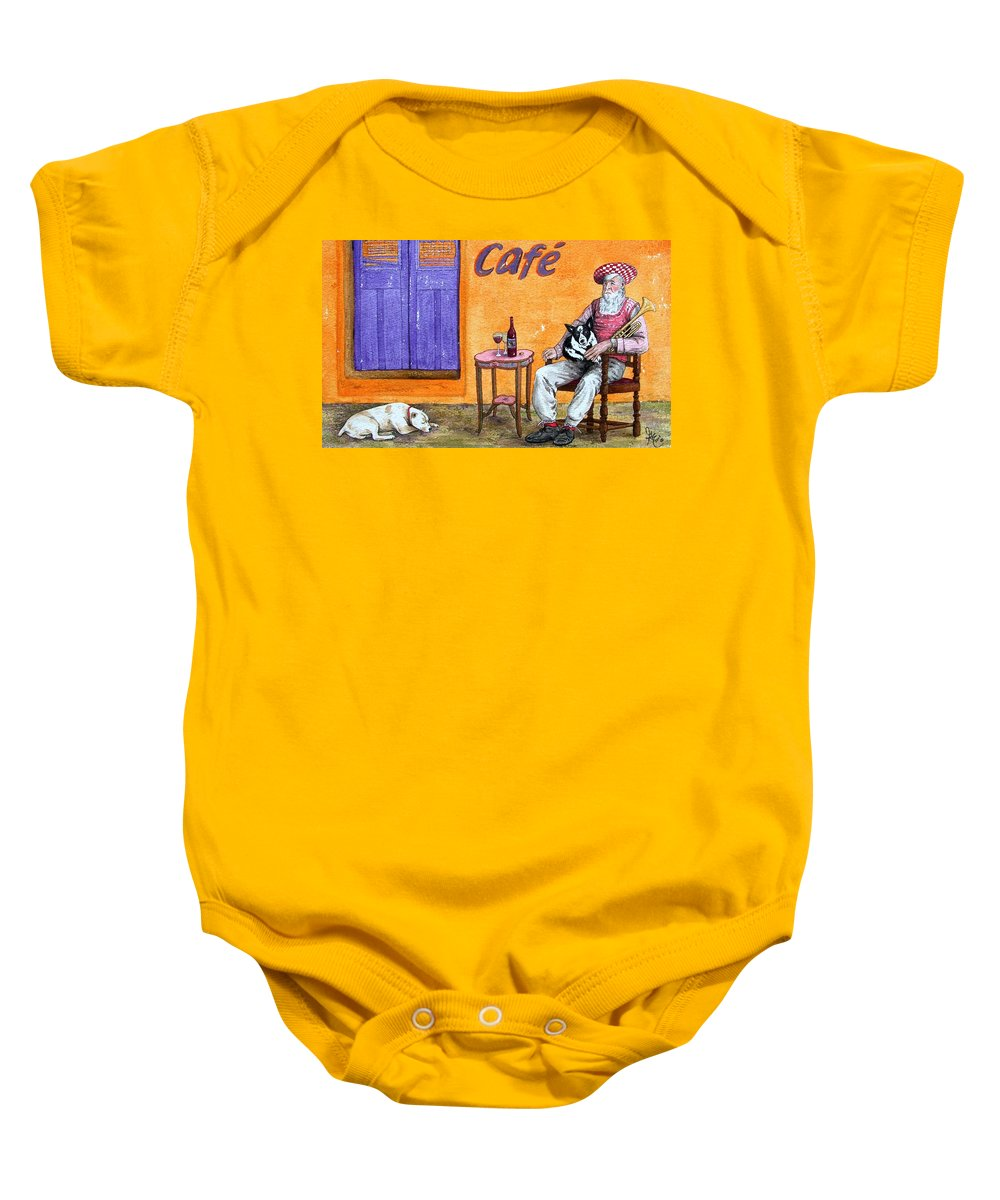 Music Baby Onesie featuring the painting Still Life With Dogs And Music by Gale Cochran-Smith