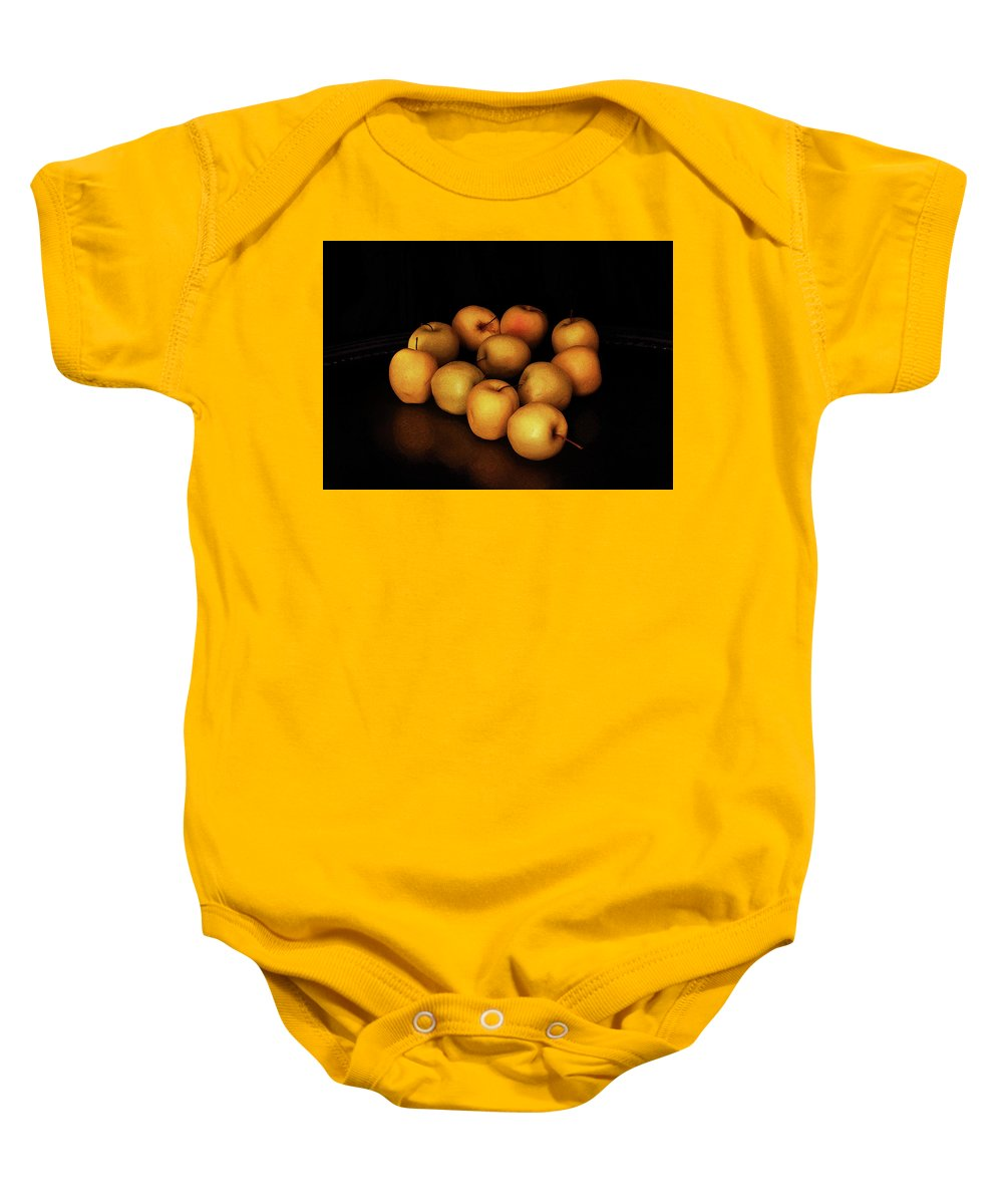 Still Life Baby Onesie featuring the photograph Still Life With Golden Apples by Ludmila SHUMILOVA