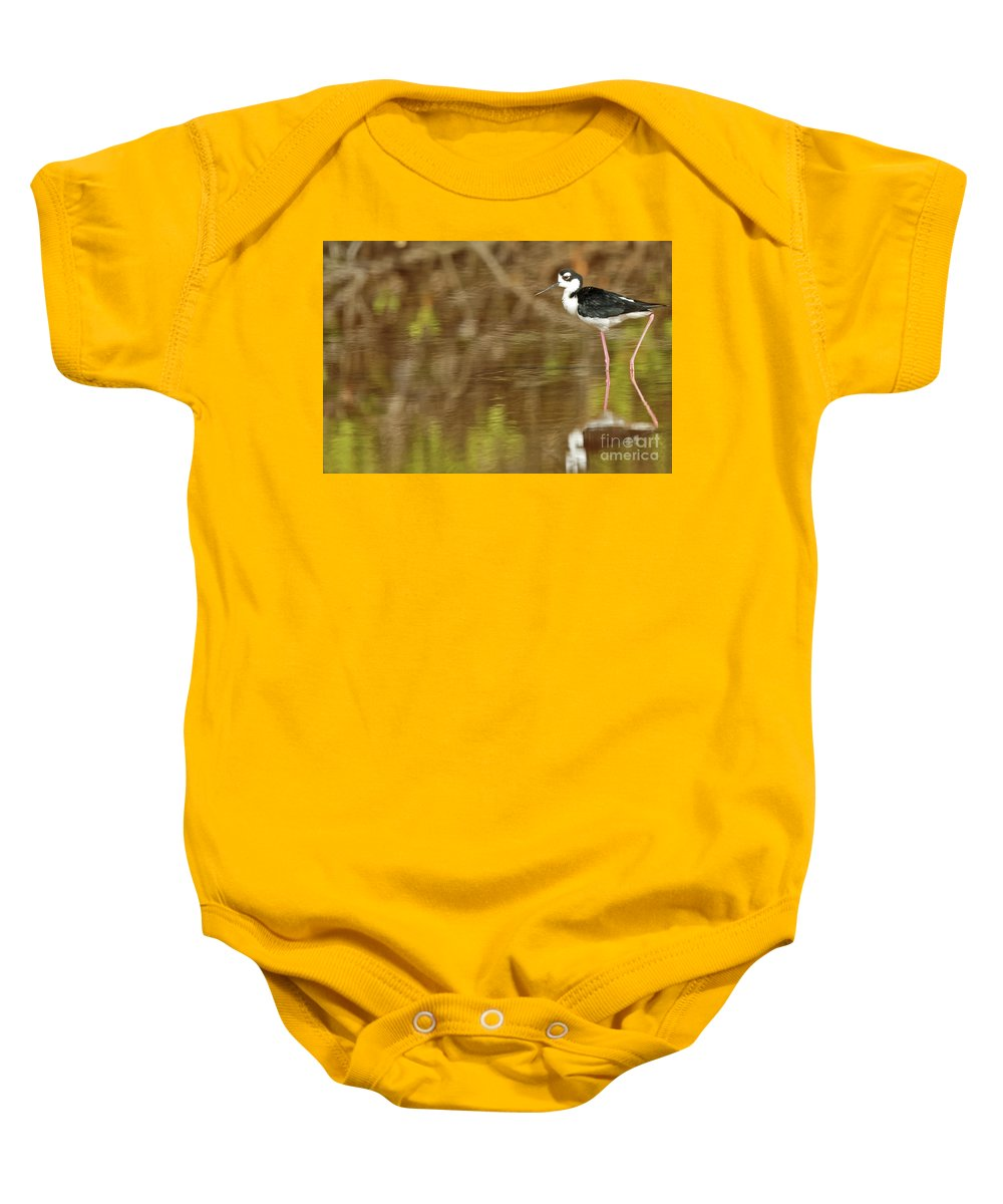 Stilt Baby Onesie featuring the photograph Stilt Strut by Natural Focal Point Photography