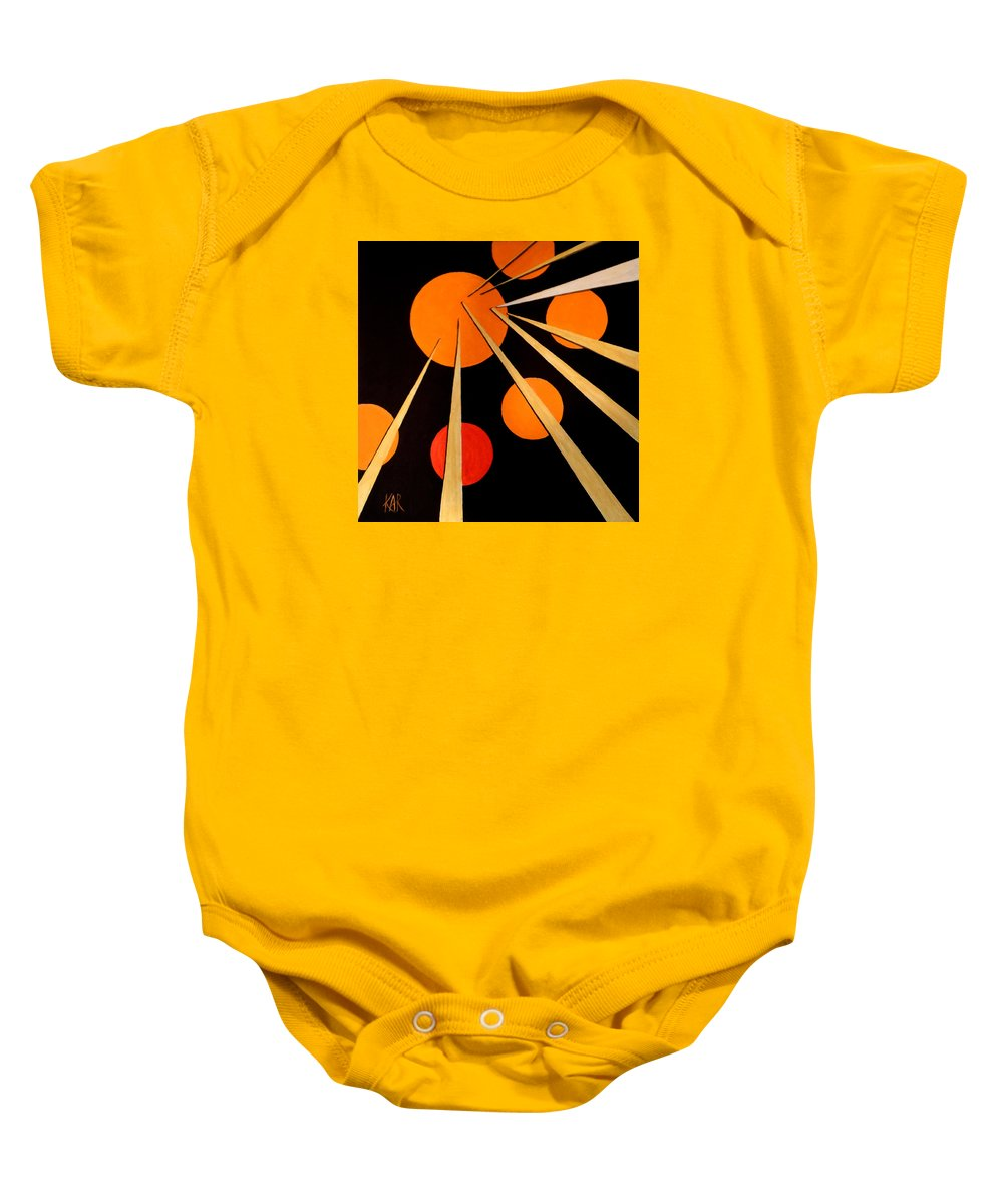 Abstract Baby Onesie featuring the painting Straights And Rounds.3 by Art by Kar