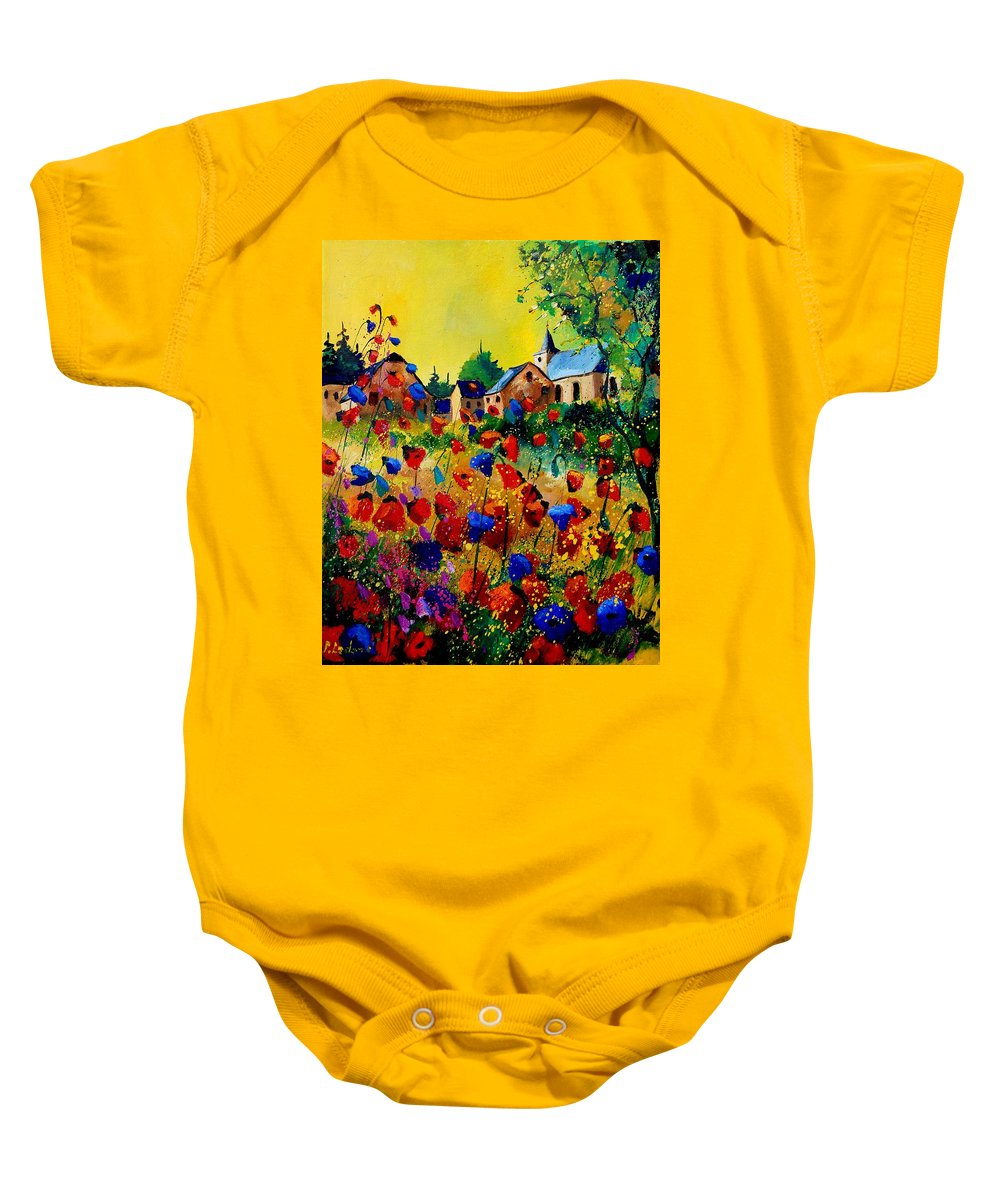 Poppy Baby Onesie featuring the painting Summer In Sosoye by Pol Ledent