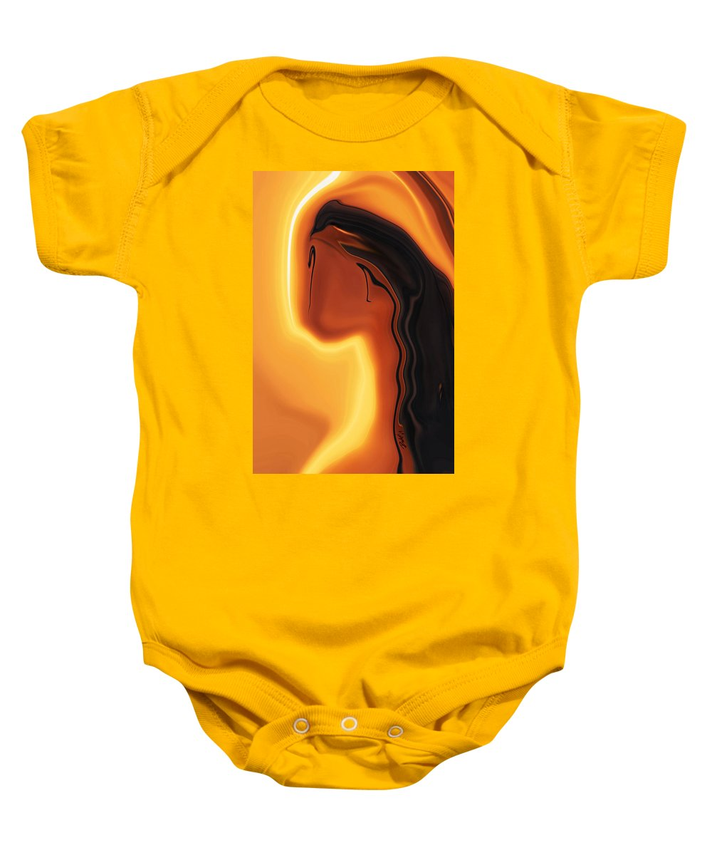 Art Black Copper Faminist Feminism Girl Glory Khan Kissed Mother Orrange Rabi Sun Wall Womanhood Wom Baby Onesie featuring the digital art Sun-kissed by Rabi Khan