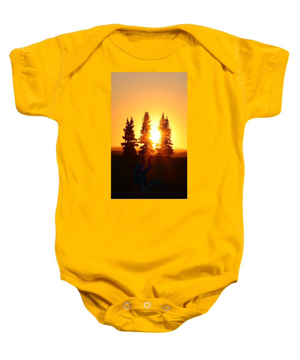 Sun Sorceress Goddess Worship Worshiper Trees Sunrise Sunset Angel Spirit Baby Onesie featuring the photograph Sun Sorceress by Andrea Lawrence
