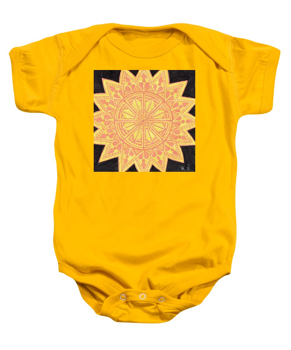 Yellow Baby Onesie featuring the drawing Sunburst by Kitty Perkins