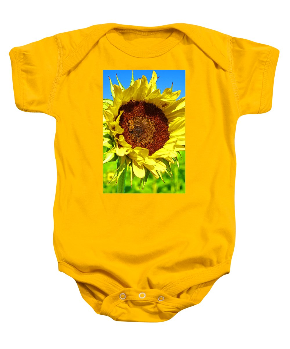Pastoral Baby Onesie featuring the photograph Sunflower And Bee by Heather Coen