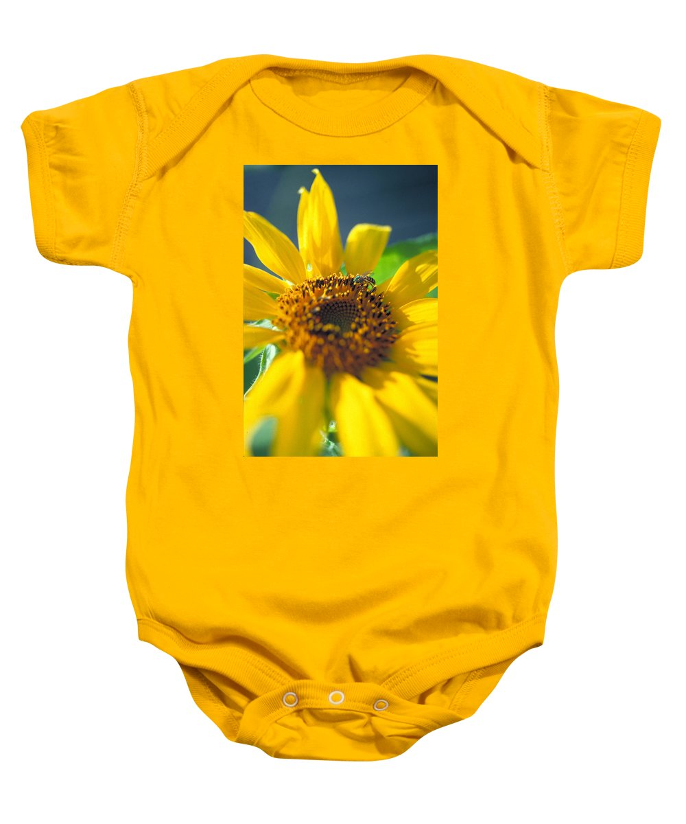Sunflower Baby Onesie featuring the photograph Sunflower And Bee Number Two by Thomas Firak