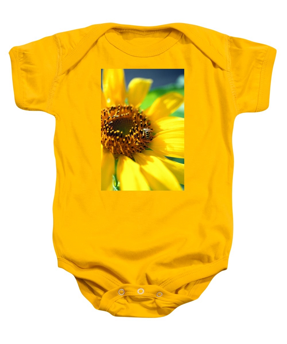 Bright Baby Onesie featuring the photograph Sunflower And Bee by Thomas Firak