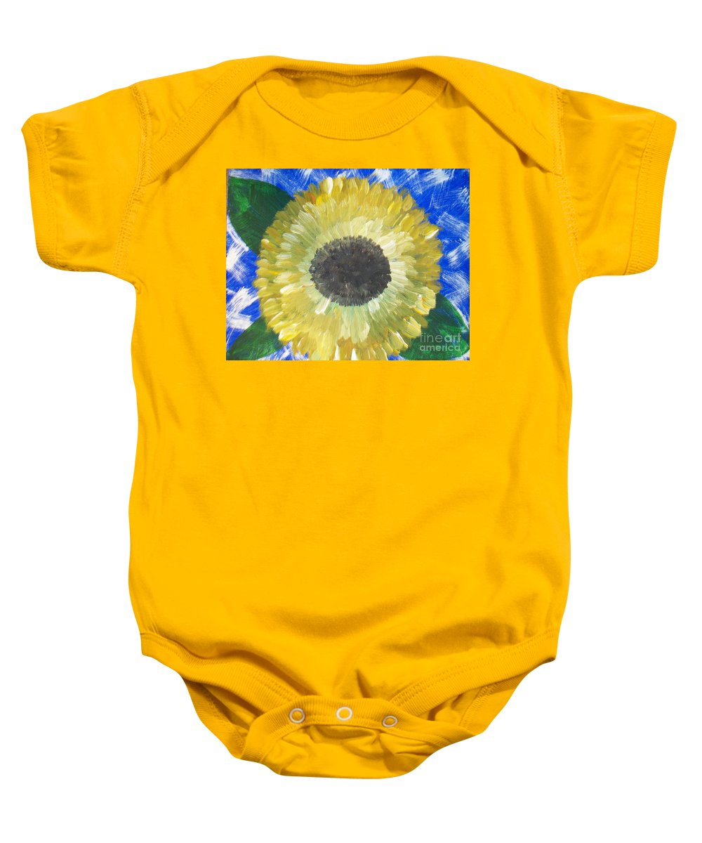 Sunflower Baby Onesie featuring the painting Sunflower On Blue by Seaux-N-Seau Soileau