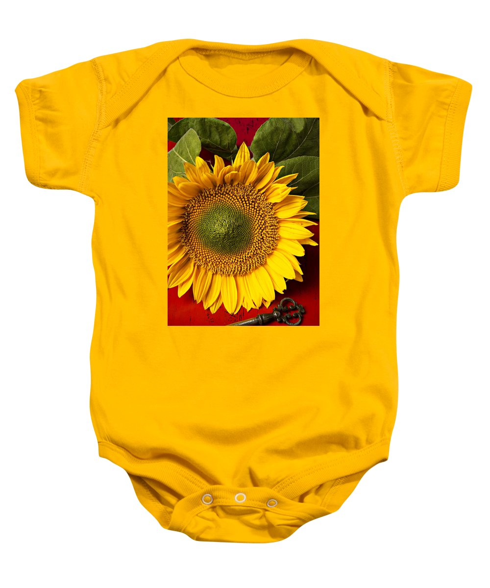 Sunflower Baby Onesie featuring the photograph Sunflower With Old Key by Garry Gay