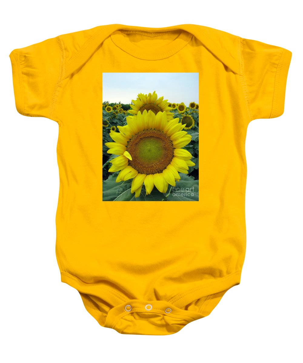 Sunflowers Baby Onesie featuring the photograph Sunflowers by Amanda Barcon