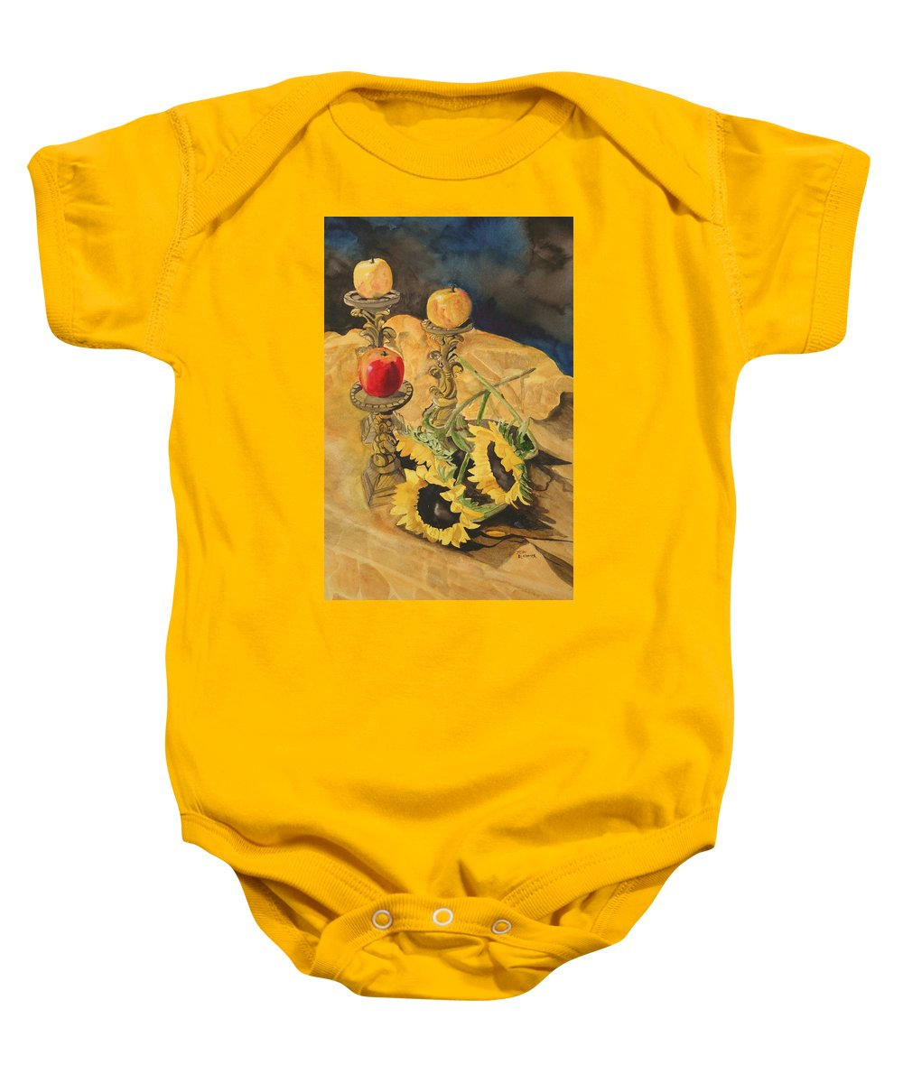 Still Life Baby Onesie featuring the painting Sunflowers And Apples by Jean Blackmer