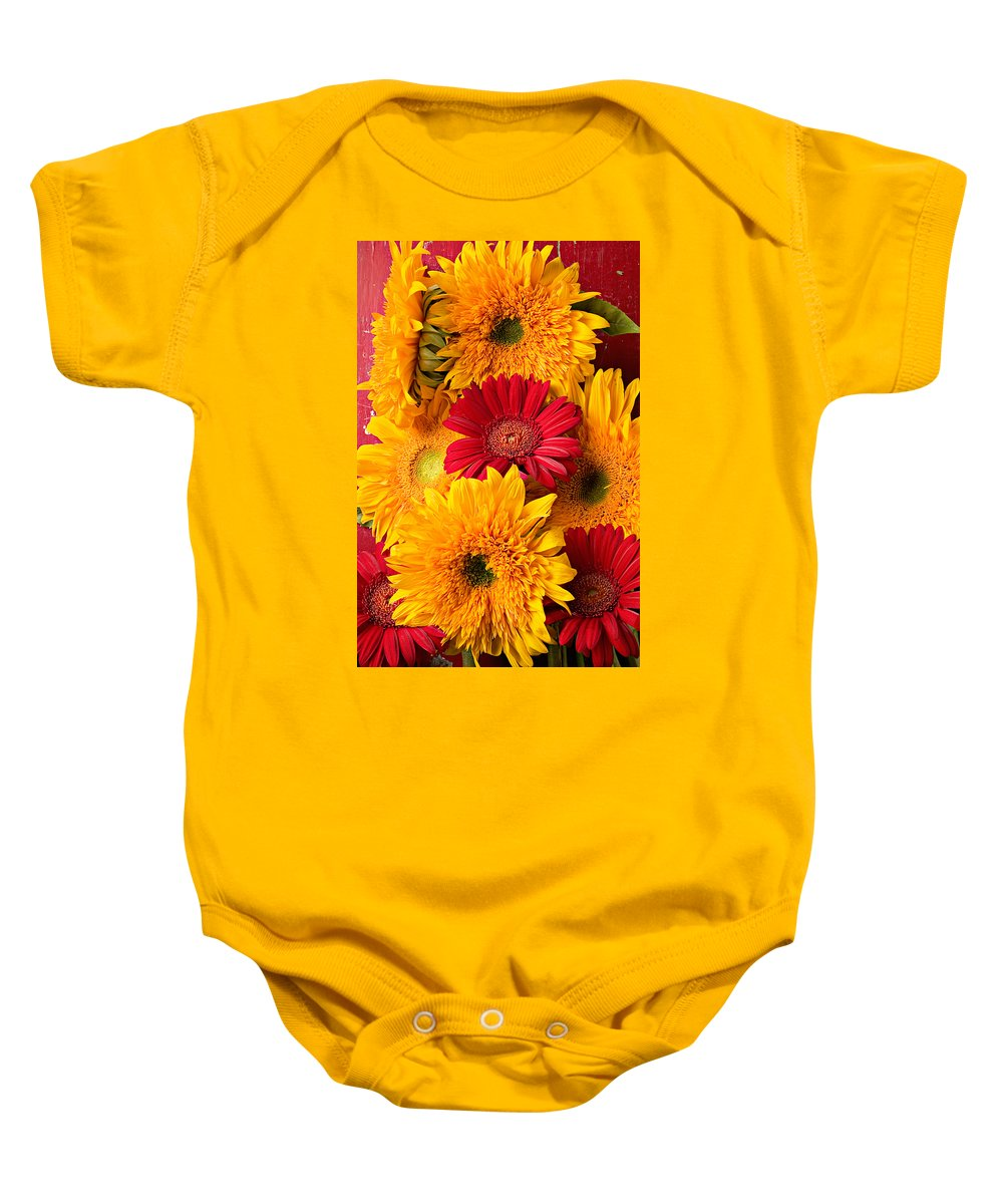 Sunflower Baby Onesie featuring the photograph Sunflowers And Red Mums by Garry Gay