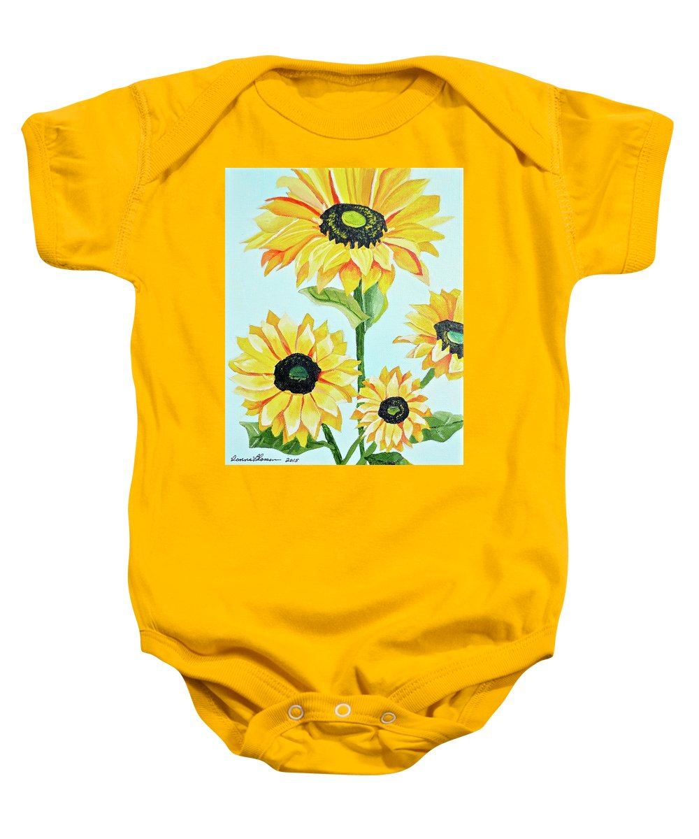 Floral Baby Onesie featuring the painting Sunflowers by Donna Blossom