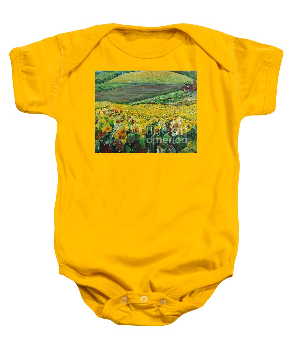 A Field Of Yellow Sunflowers Baby Onesie featuring the painting Sunflowers In Provence by Nadine Rippelmeyer