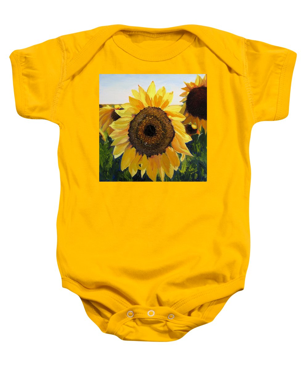 Sunflower Baby Onesie featuring the painting Sunflowers Squared by Lea Novak