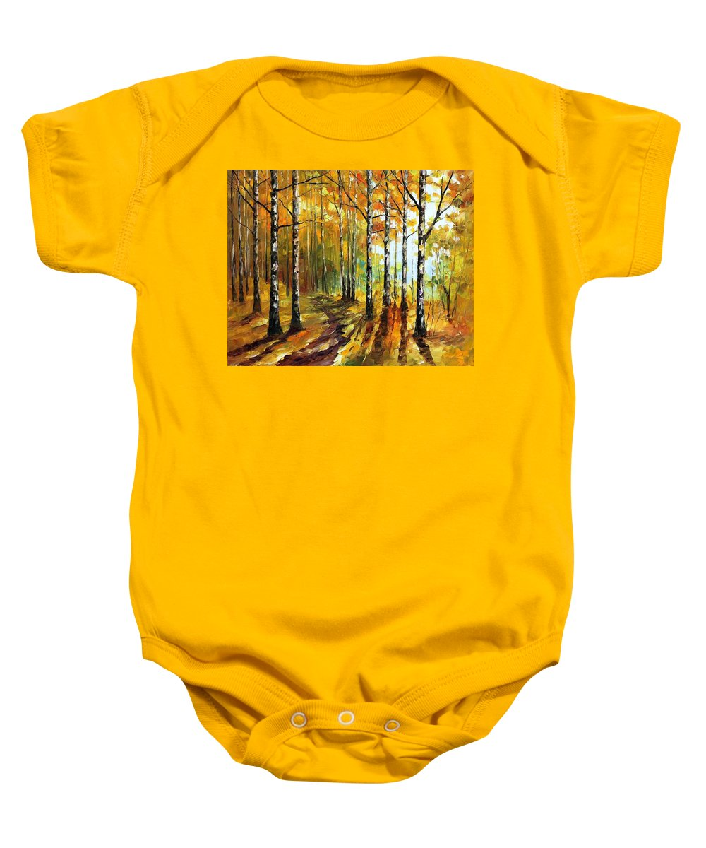 Afremov Baby Onesie featuring the painting Sunny Birches by Leonid Afremov