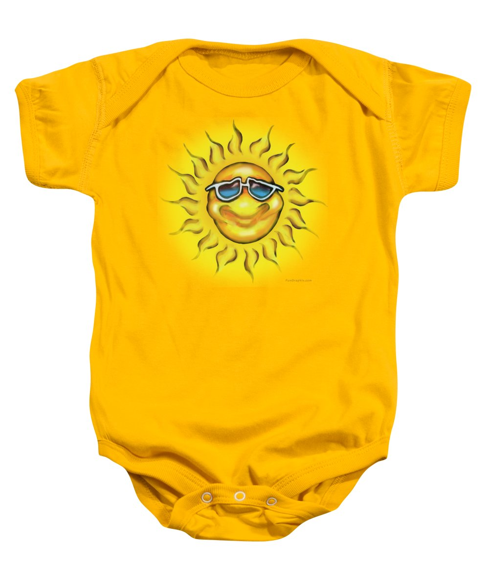 Sun Baby Onesie featuring the painting Sunny by Kevin Middleton