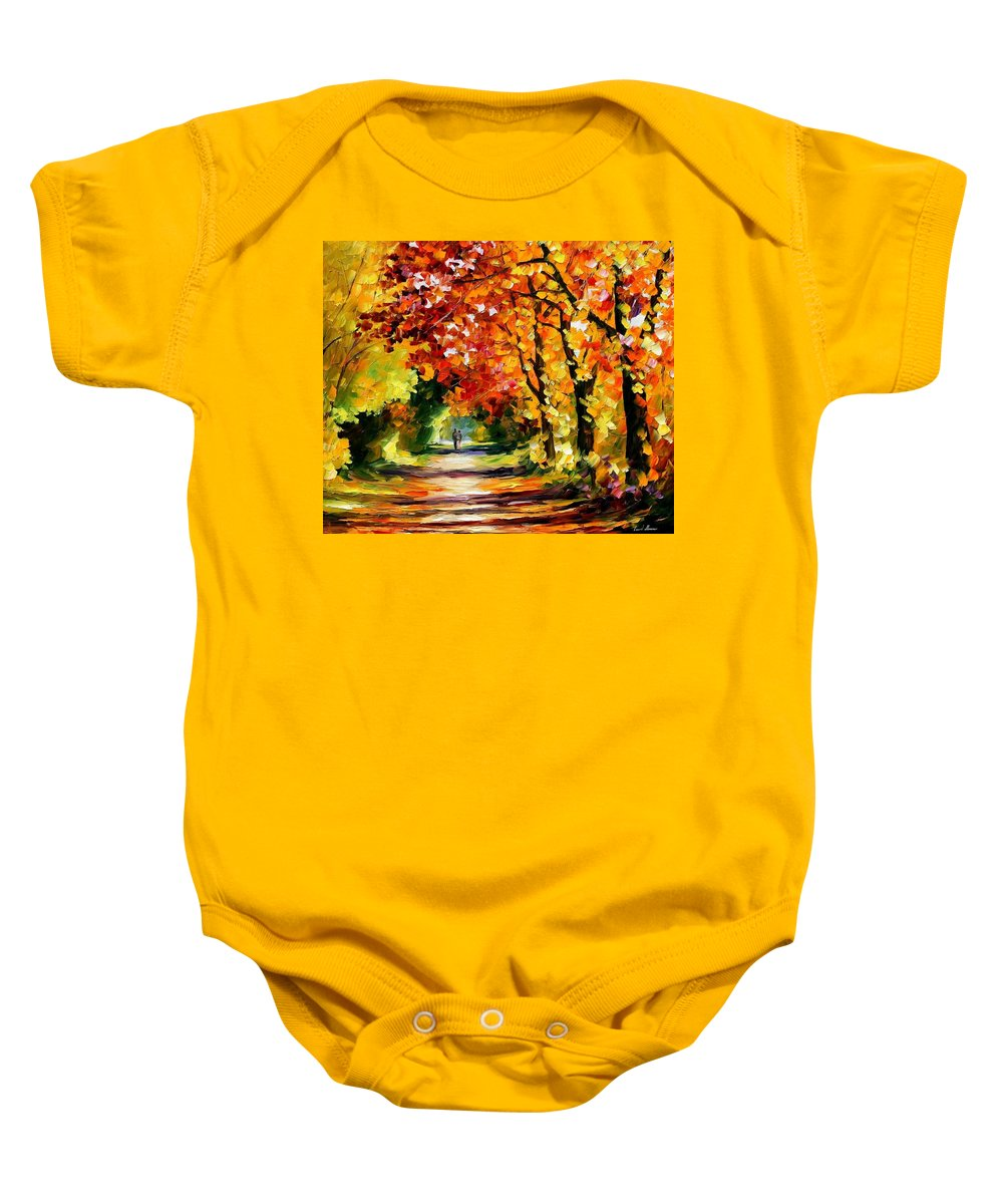 Afremov Baby Onesie featuring the painting Sunny Path by Leonid Afremov