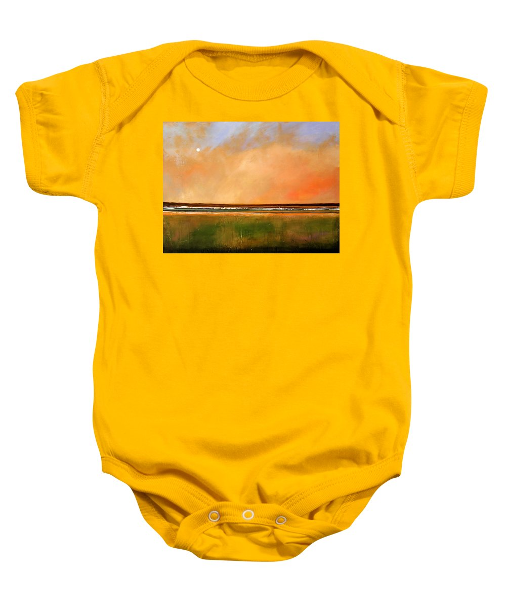 Sunrise Baby Onesie featuring the painting Sunrise Beach by Toni Grote