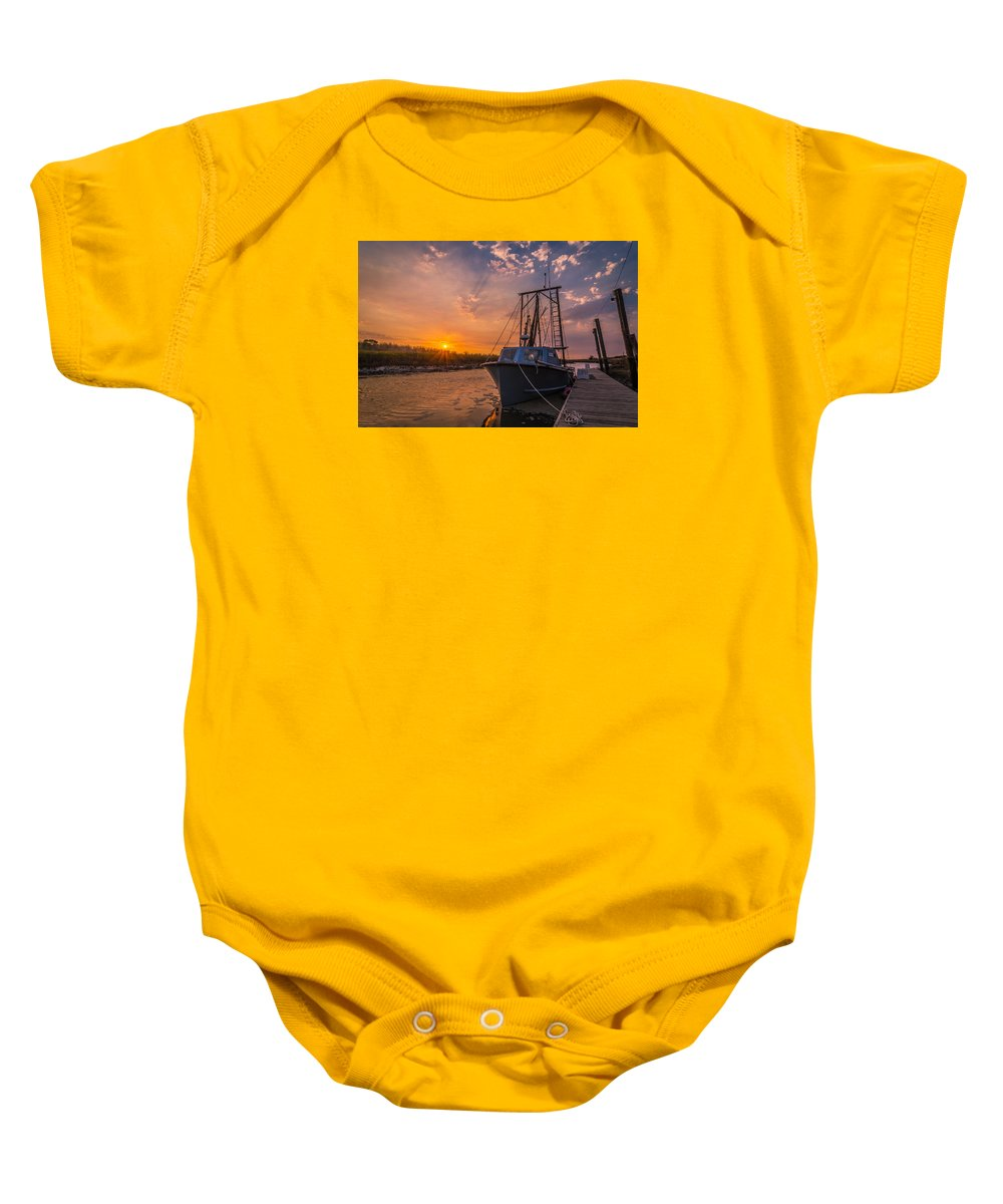 Boat Baby Onesie featuring the photograph Sunset At Alviso by Ian Aldridge