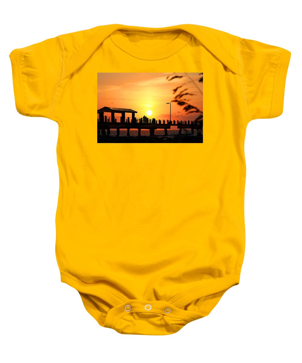 Fort De Soto Baby Onesie featuring the photograph Sunset At Fort De Soto Fishing Pier Pinellas County Park St. Petersburg Florida by Mal Bray