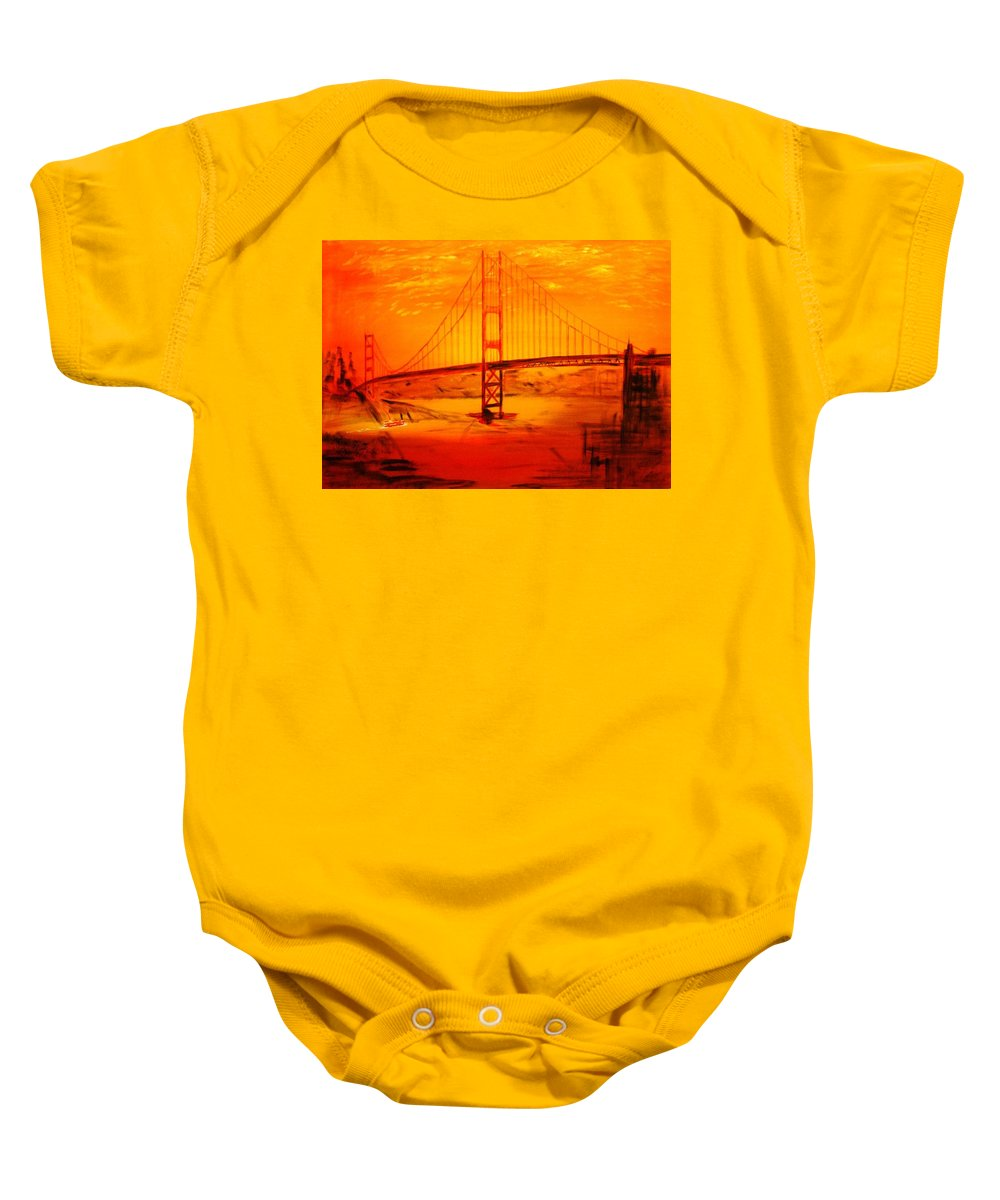 Sunset At Golden Gate Baby Onesie featuring the painting Sunset At Golden Gate by Helmut Rottler