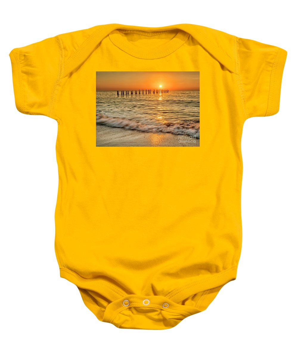 Pier Baby Onesie featuring the photograph Sunset Beach by Sherry Butts