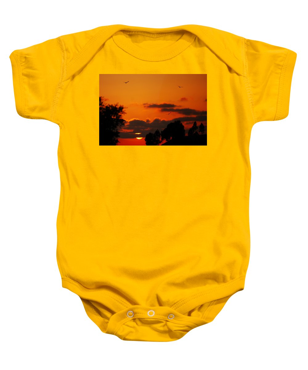 Sunset Baby Onesie featuring the photograph Sunset Birds by Jill Reger
