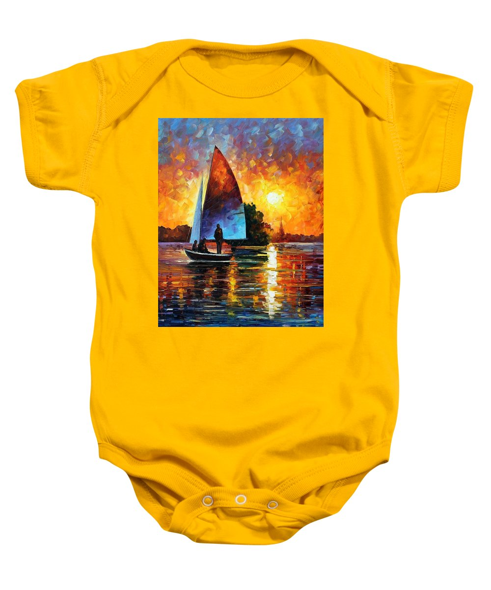 Afremov Baby Onesie featuring the painting Sunset By The Lake by Leonid Afremov