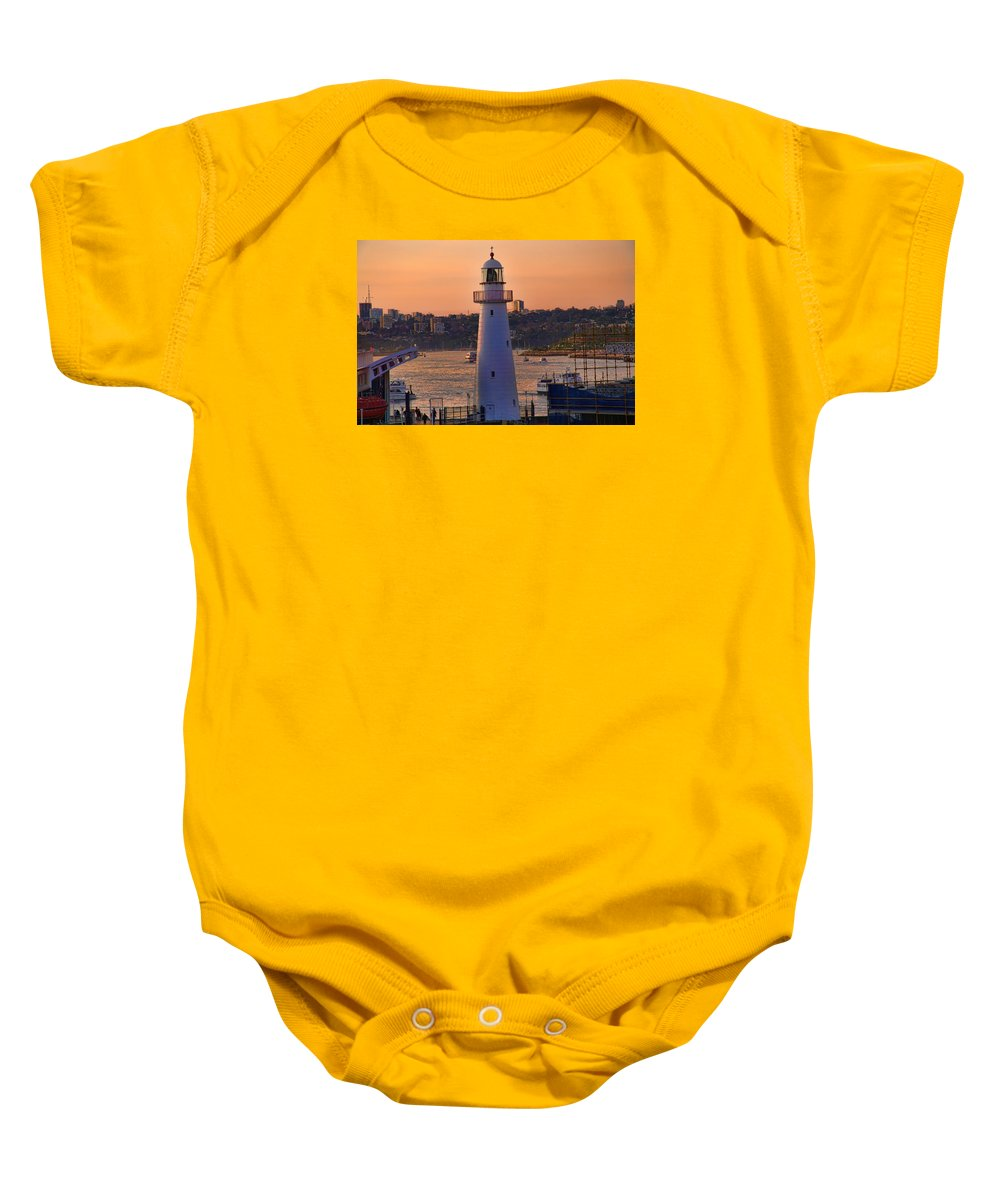 Cityscape Baby Onesie featuring the photograph Sunset Hues Cockle Bay Wharf by Diana Mary Sharpton