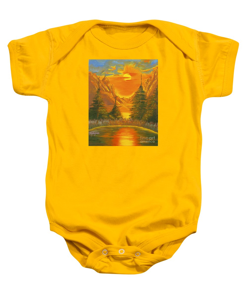 Landscape Baby Onesie featuring the painting Sunset In The Canyon 1 by Milagros Palmieri