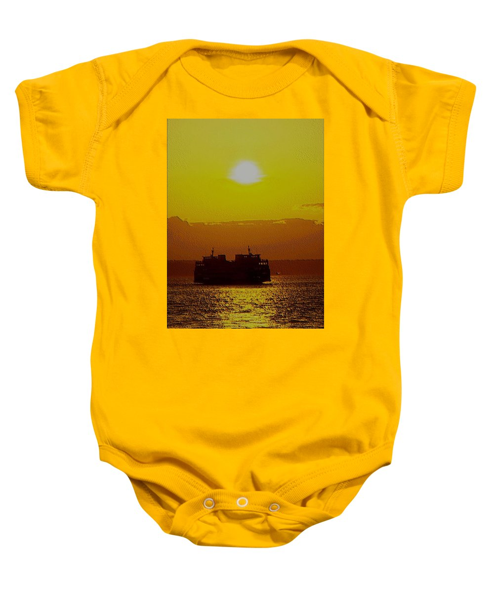 Seattle Baby Onesie featuring the photograph Sunset On Puget Sound by Tim Allen