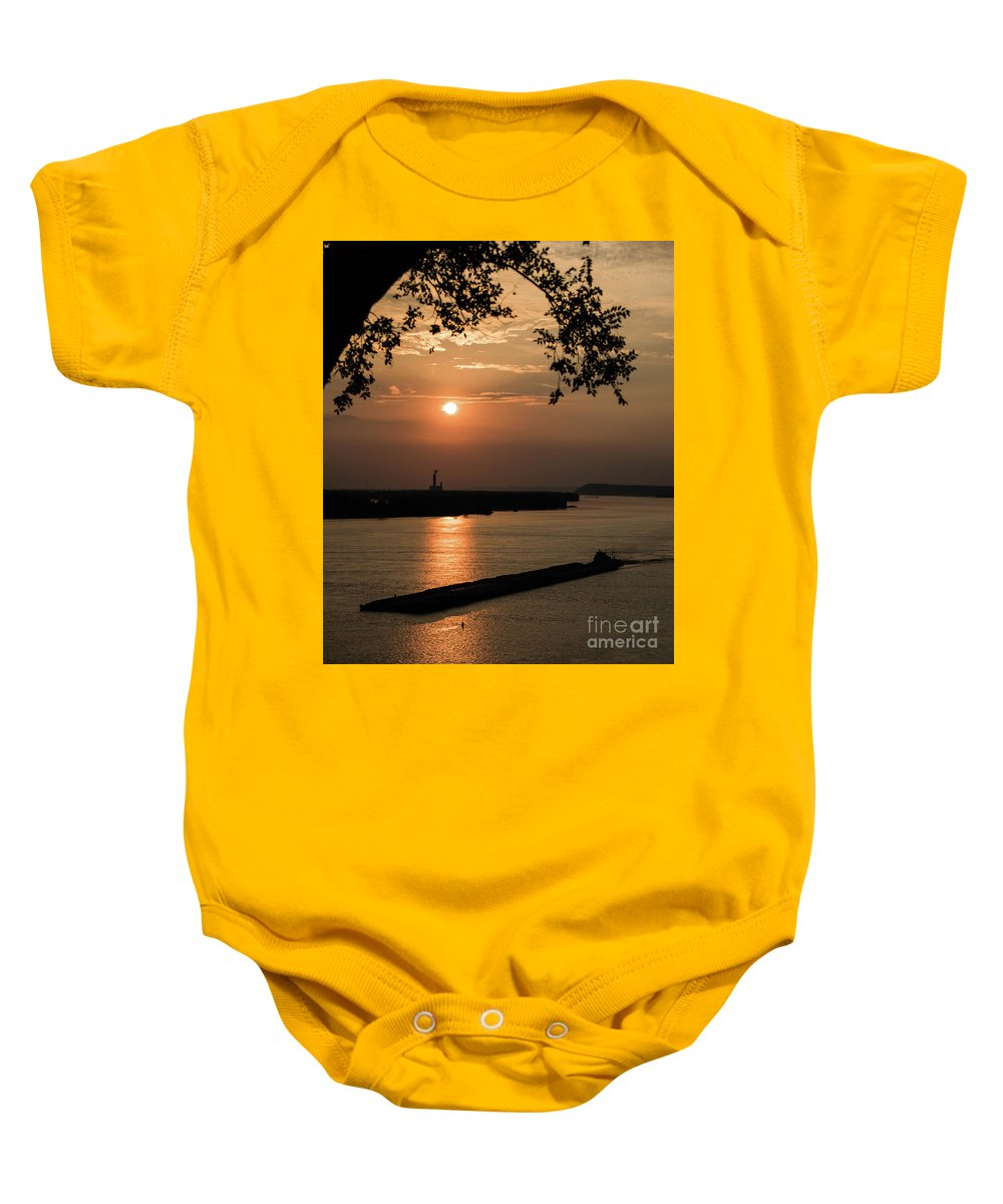 Mississippi River Baby Onesie featuring the photograph Sunset On The Mississippi by Brenda Gray