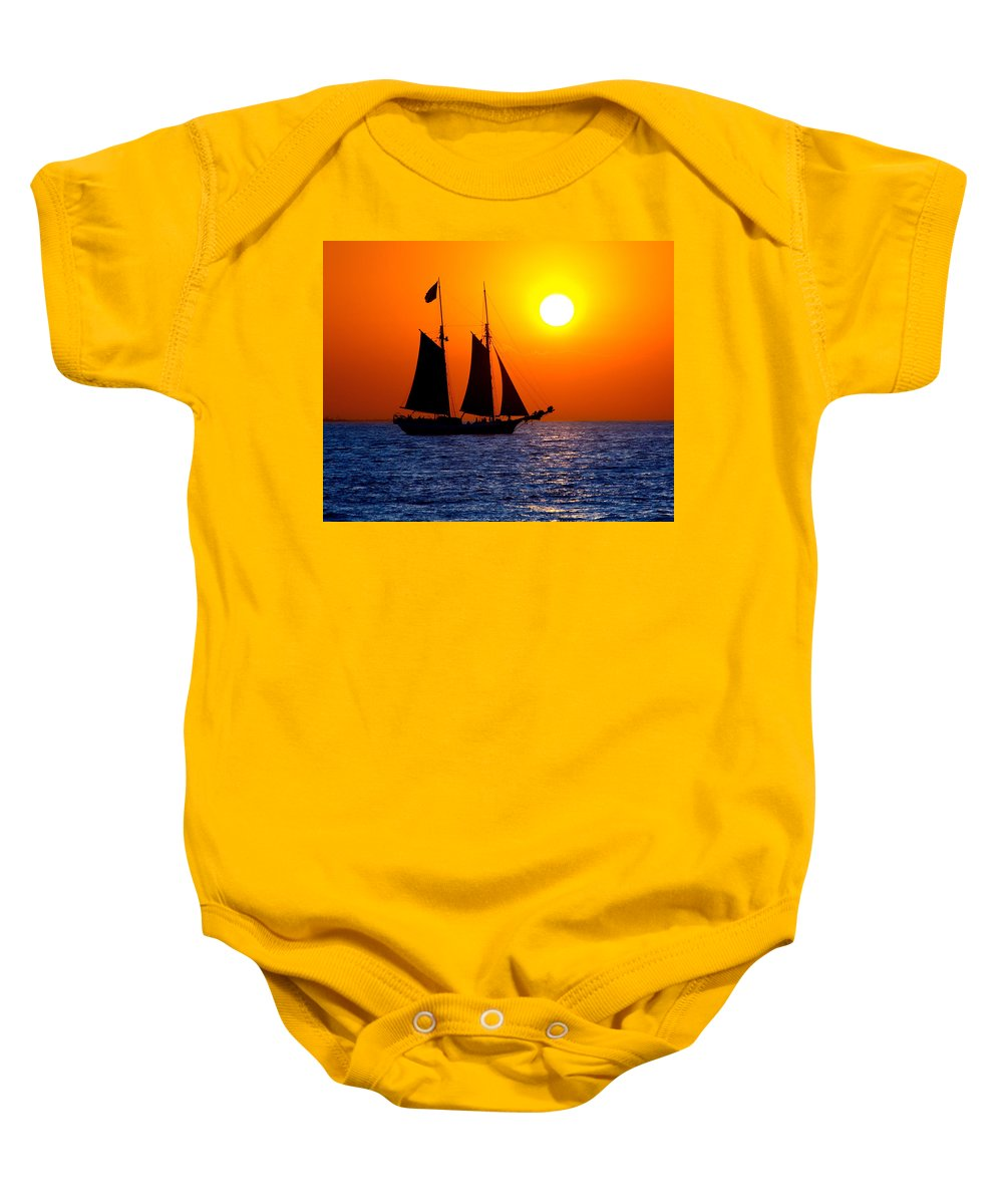 Yellow Baby Onesie featuring the photograph Sunset Sailing In Key West Florida by Michael Bessler