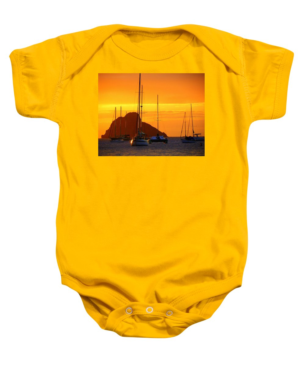 Sunsets Baby Onesie featuring the photograph Sunset Sails by Karen Wiles