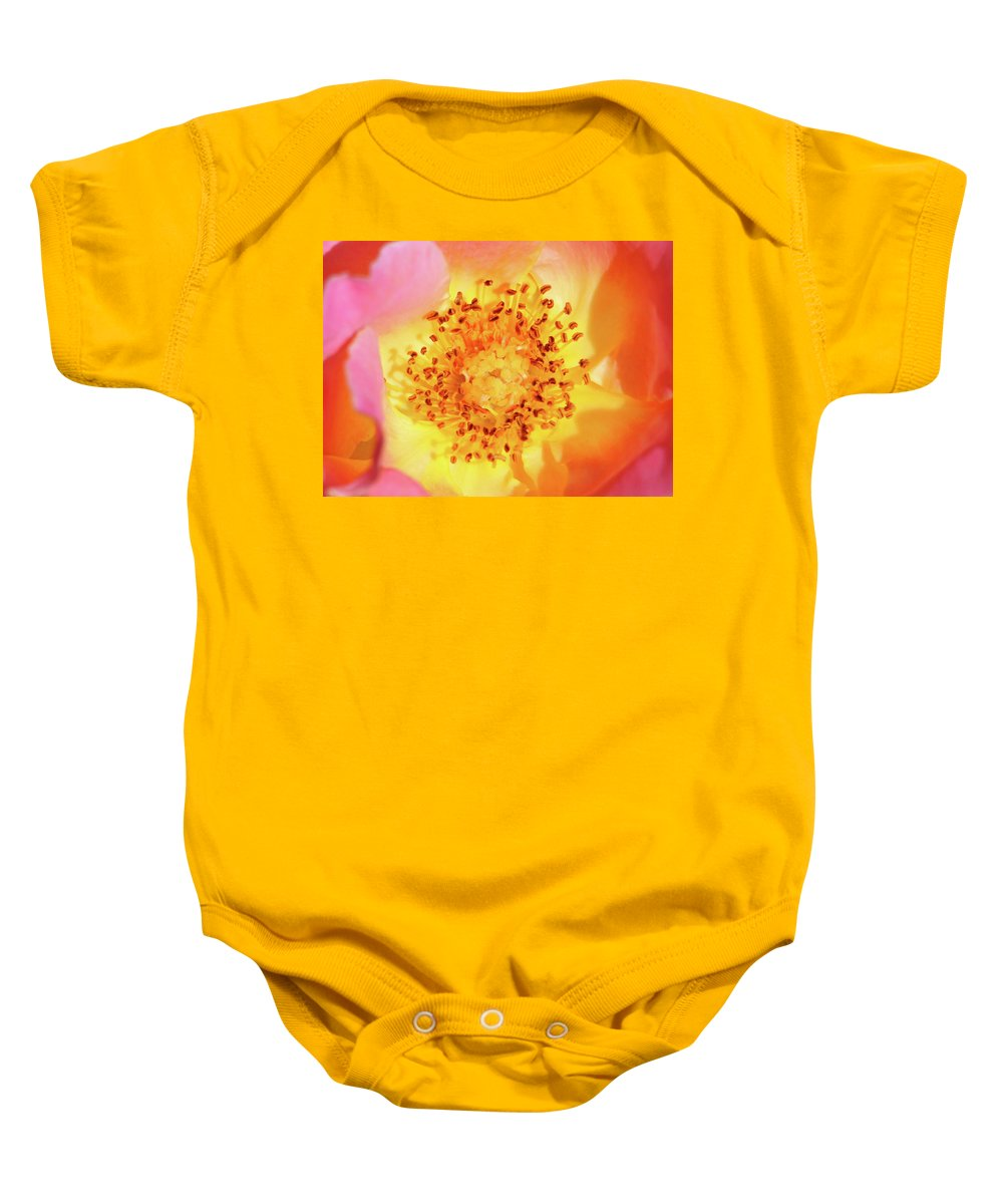 Rose Baby Onesie featuring the photograph Sunshine - Hybrid Tea Rose - Macro by Pamela Critchlow