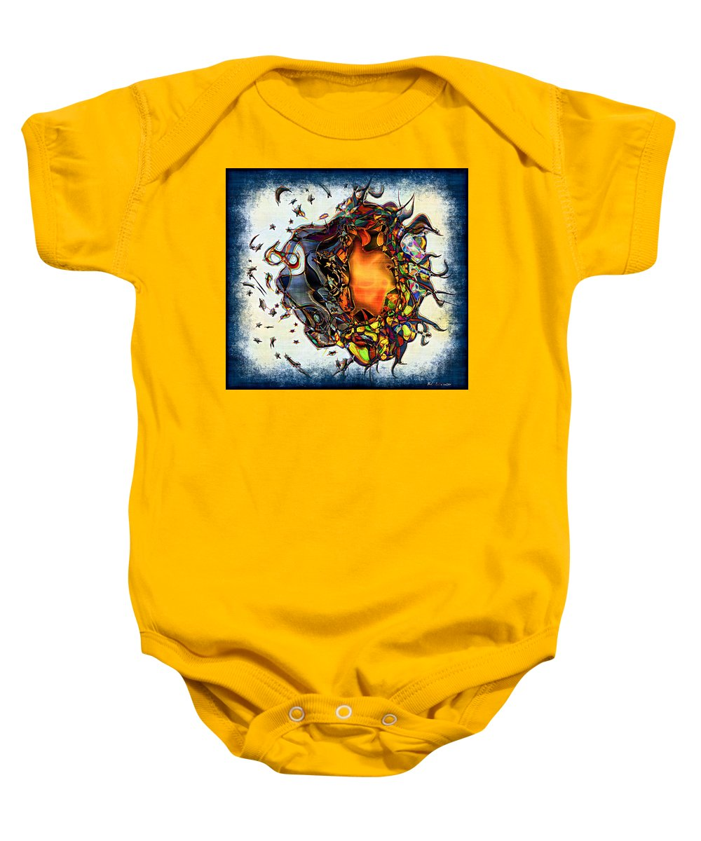 Abstract Baby Onesie featuring the painting Supernova In Harlequin by RC DeWinter