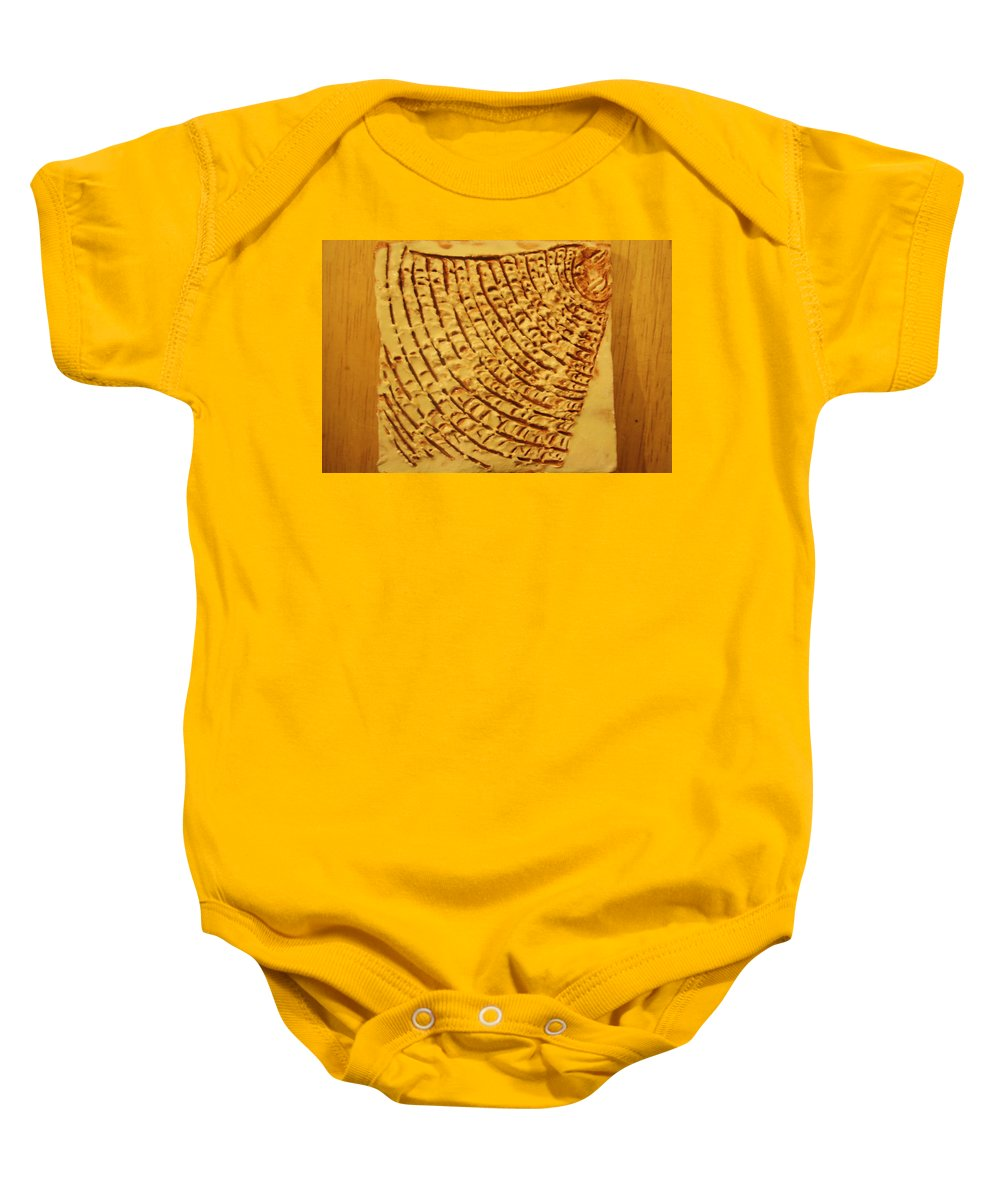 Jesus Baby Onesie featuring the ceramic art Surprise - Tile by Gloria Ssali