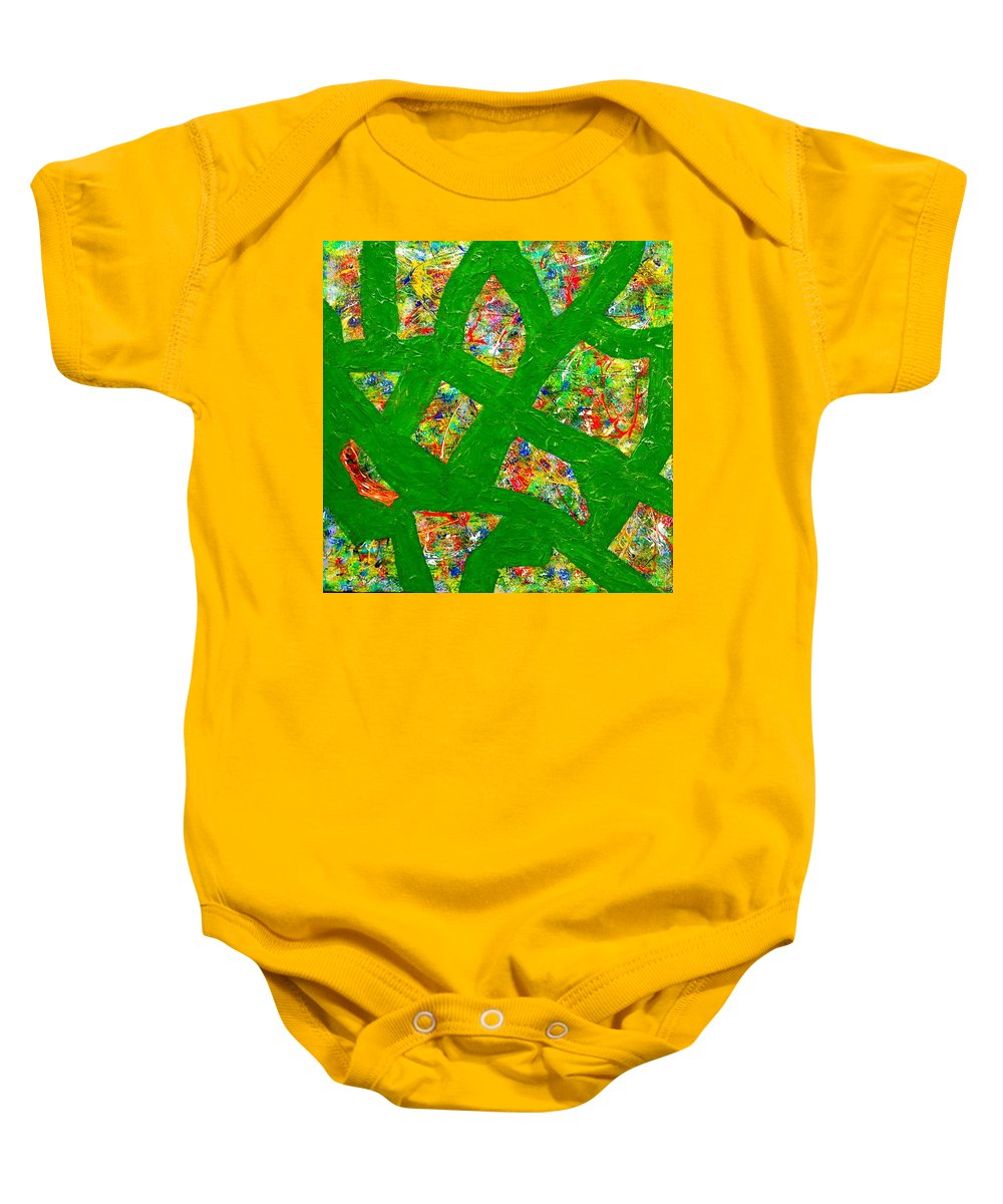 Abstract Baby Onesie featuring the mixed media Surrounded By Green by Rita Lulay Malsch