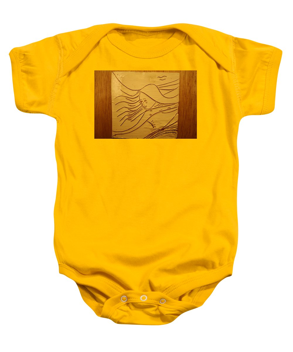 Jesus Baby Onesie featuring the ceramic art Sweet Sounds - Tile by Gloria Ssali